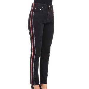 MSGM Milano Side Stripe Cropped High Waisted Jeans